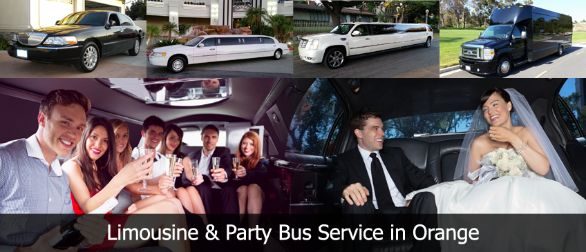 orange limousine party bus service company